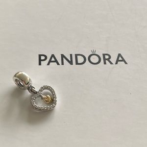 """Pandora Two Tone """"Forever in My Heart"""" Charm"""
